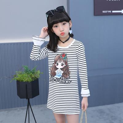 儿童长袖T恤女童条纹t女童装韩版圆领条纹打底衫秋款短袖t恤
