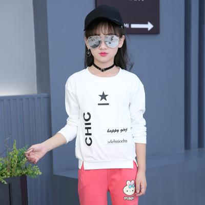 女童秋装短袖T恤2017新款童装儿童五角星打底衫中大童上衣潮