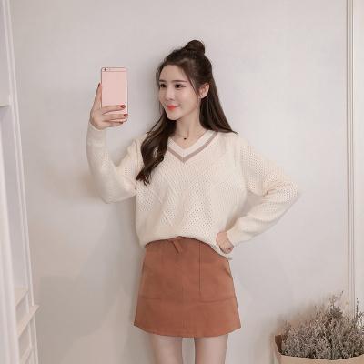 女人志 秋冬时尚两件套V领针织毛衣裙子套装8156