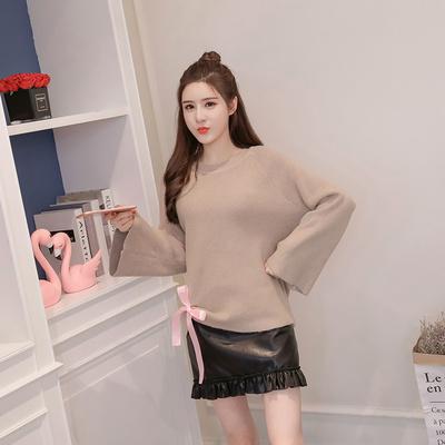 女人志 秋冬新款两件套修身时尚针织毛衣裙子套装8166