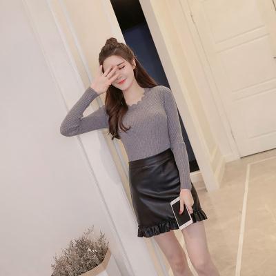 女人志 秋冬时尚两件套修身针织毛衣裙子套装8169