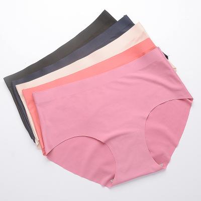【五条装】女士内裤女无痕一片式性感中腰薄冰丝内裤纯色棉裆三角裤夏季