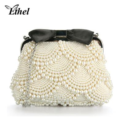 珠艺Ethel 珍珠精巧蝴蝶结斜跨单肩手拿小包晚宴包 JY0541