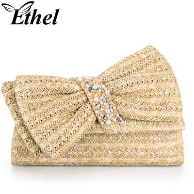 珠艺Ethel 高级草料编织精巧斜跨单肩手拿小包晚宴包 JY0825
