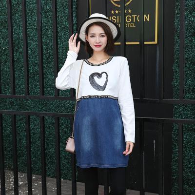 依曼莱孕妇装秋冬装上衣长袖韩版时尚春装牛仔拼接连衣裙T5122