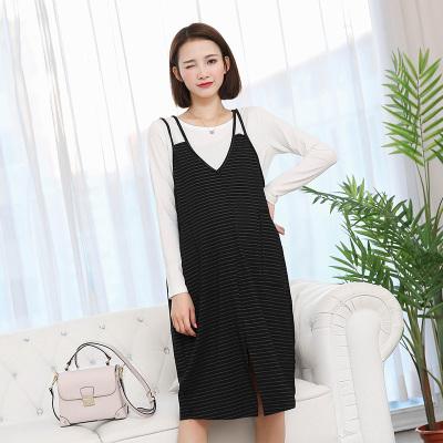 依曼莱孕妇裙秋装韩国秋款背心裙长袖打底衫套装孕妇两件套连衣裙秋T5125