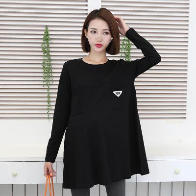 依曼莱孕妇装连衣裙韩版新款纯棉秋装上衣中长款宽松短袖孕妇裙T5150