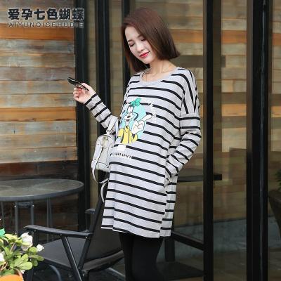 依曼莱孕妇装孕妇连衣裙中长款长袖卡通图案宽松大码条纹孕妇裙T5238
