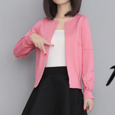 【清仓款】果倍儿 时尚优雅女士纯色针织圆领外套  6809