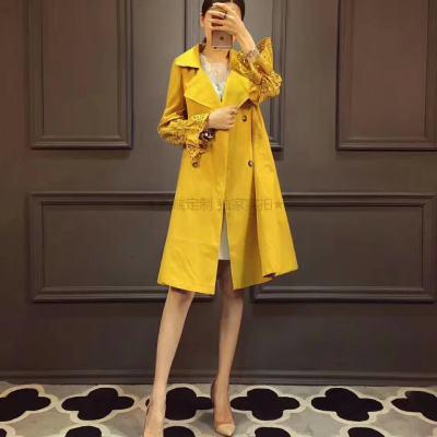 琴之云裳 2017年秋款新款时尚翻领双排扣镂空喇叭袖风衣
