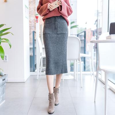 秋冬装新款韩版纯色长款纯色修身系带针织半身裙Q047F6076