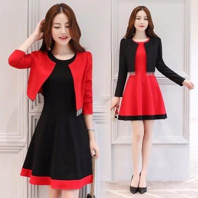 布桂坊2017早秋新品女士两件套时尚套装韩版修身连衣裙2615