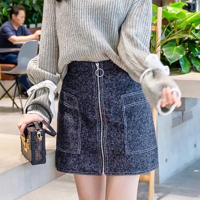 恩黛 2017秋冬韩版百搭修身半身裙短款纯色拉链包臀裙 Q047F6071