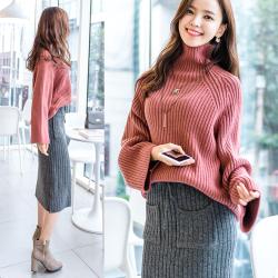 恩黛 2017冬装新款韩版长袖宽松针织衫套头纯色高领毛衣 Q047F6038