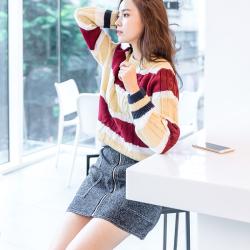 恩黛 2017秋冬装新款韩版长袖毛衣圆领宽松撞色针织衫套头 Q047F6042