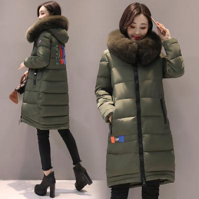 布桂坊2017冬季新款女装韩版加厚修身棉衣大毛领羽绒服学生棉服1612