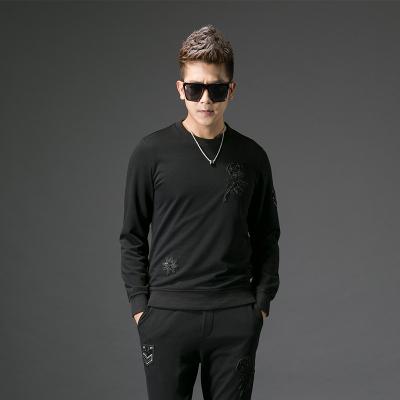 【上衣+裤子】2017秋季修身型男士圆领卫衣套装#XD-178015