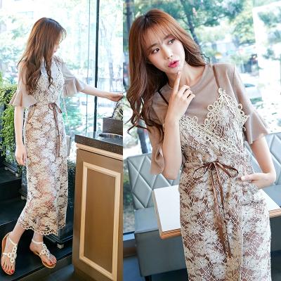 恩黛 2017夏季新款韩版女装 修身吊带镂空短袖两件套连衣裙 Q047F6940