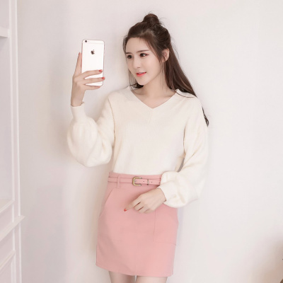 女人志 秋冬时尚两件套毛衣裙子套装8181