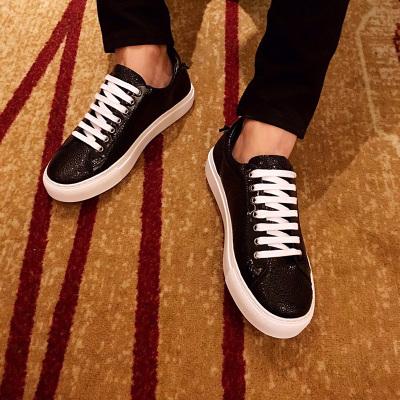 欧尚毕威 珍珠鱼纹休闲男鞋