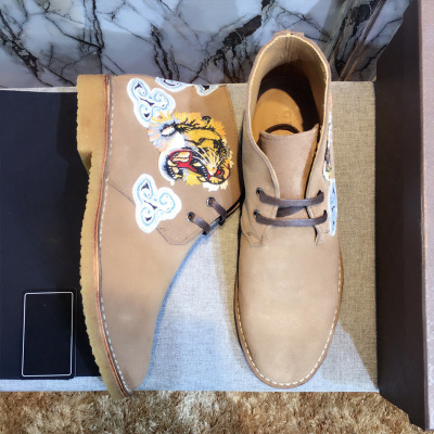欧尚毕威 刺绣鞋潮男欧美系带时尚皮靴