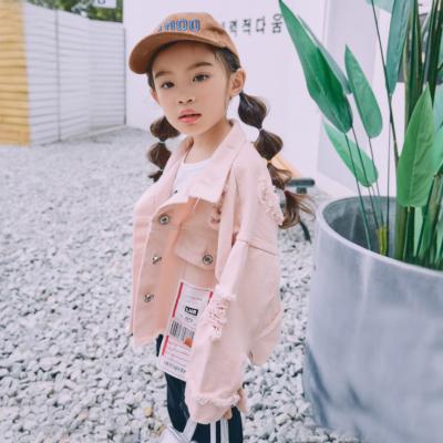 魔逗星 2017秋季新款开学季女童韩版纯棉可爱长袖个性破洞女童外套 M010