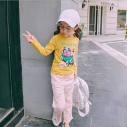 魔逗星  2017新款童装女宝宝秋装长袖T恤女孩百搭打底衫简约 M032