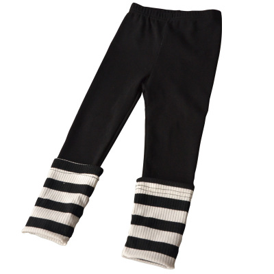 2017新款秋装女童打底裤纯棉拼接条纹舒适女孩运动外出长裤子