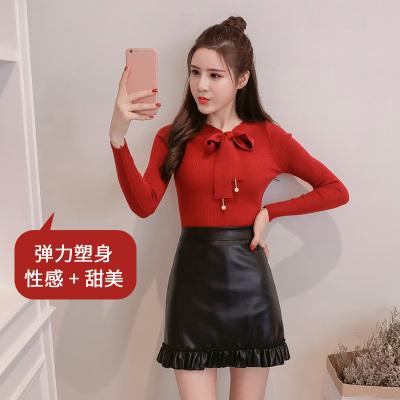 女人志 秋冬时尚两件套修身蝴蝶结针织毛衣裙子套装8168