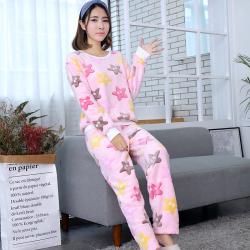 珂织珂索KZKSO 2017新款珊瑚绒法兰绒睡衣长袖女家居服套装