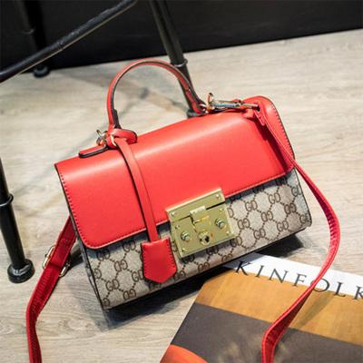 米尔 2017新款印花撞色小方包欧美时尚锁扣手提包单肩包斜挎包女小包