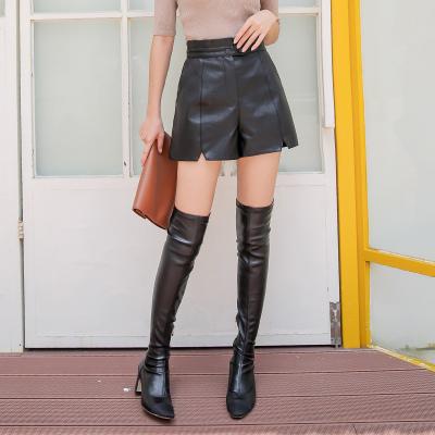 慕思雨2017年新款欧版皮裤黑色纯色7263