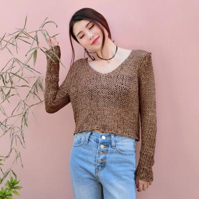 LYDIA 2017新款韩版宽松V领麻花上衣短款针织开衫