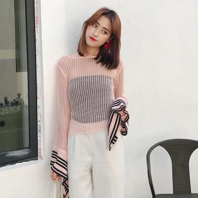 LYDIA 2017新款纯色镂空破洞针织衫女宽松喇叭袖防晒罩衫