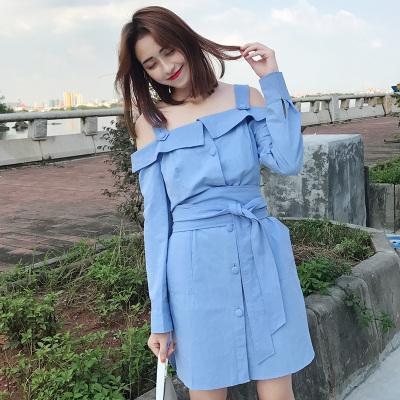 LYDIA 2017新款韩版短袖一字肩吊带连衣裙女收腰露肩a字裙子