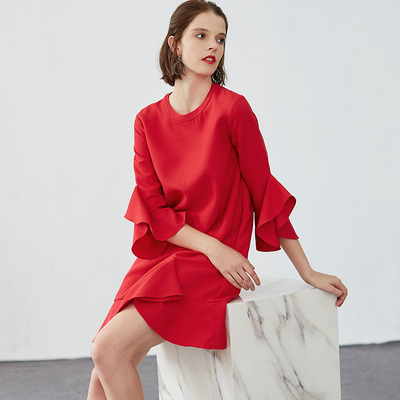 赞拿2017秋冬款不规则波浪袖红色连衣裙高端时尚 90228022