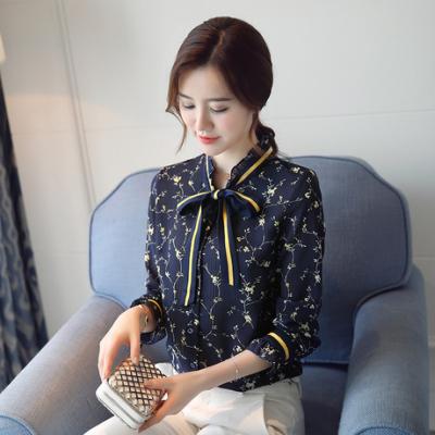 布桂坊2017秋装新款木耳边立领喇叭长袖花色印花雪纺衬衫上衣女6286