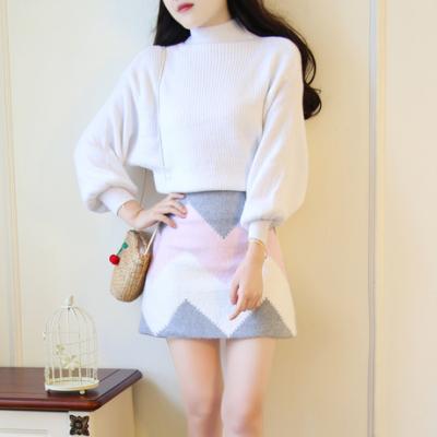 2017秋冬装新款韩版时尚套装宽松高领灯笼袖针织波浪毛呢短裙两件套 1114