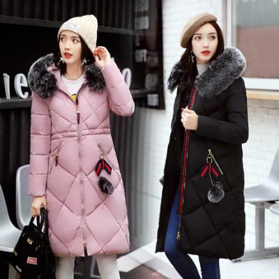 布桂坊2017冬季新款修身中长款韩版大毛领加厚保暖羽绒棉服女装棉袄1803