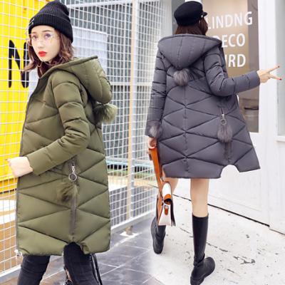 布桂坊2017女装冬季新款韩版连帽加厚学生棉服时尚外套羽绒服中长款1685