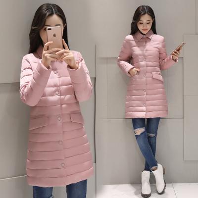 布桂坊2017冬季新款韩版女装棉衣修身中长款羽绒服轻薄外套棉袄6808