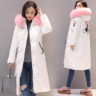布桂坊2017新款冬装韩版女士中长款宽松羽绒棉服时尚大毛领学生棉衣1608