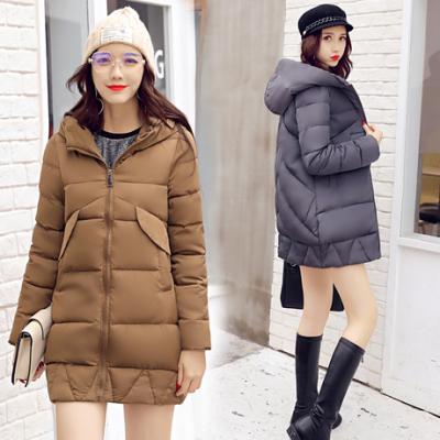 布桂坊2017冬季新款韩版加厚中长款羽绒棉服女棉衣外套宽松学生1682