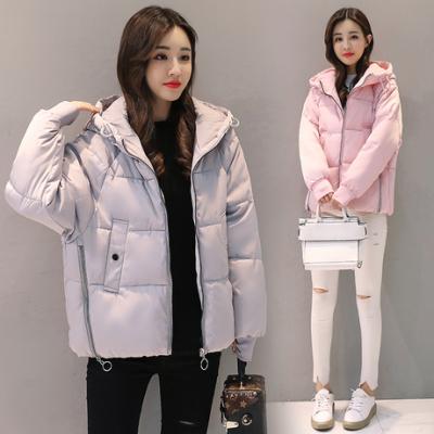 布桂坊2017新款韩版时尚修身羽绒棉服纯色连帽加大短款面包服棉衣女8858款
