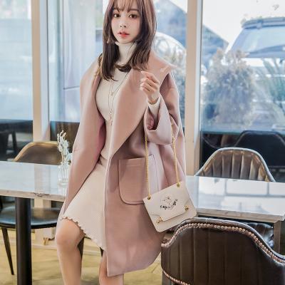 恩黛 2017实拍秋冬装新款韩版长袖毛呢外套宽松显瘦纯色长款上衣 Q047F6080