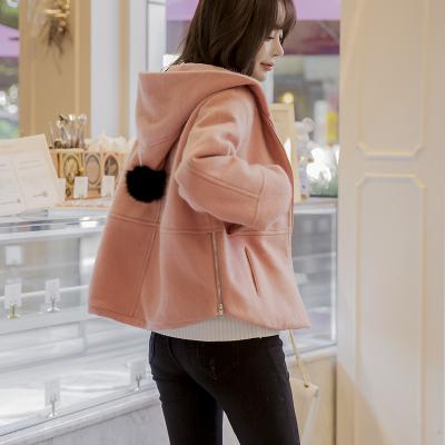 恩黛 实拍2017韩版女秋装新款修身百搭呢子显瘦时尚短款毛呢外套 Q047F6099