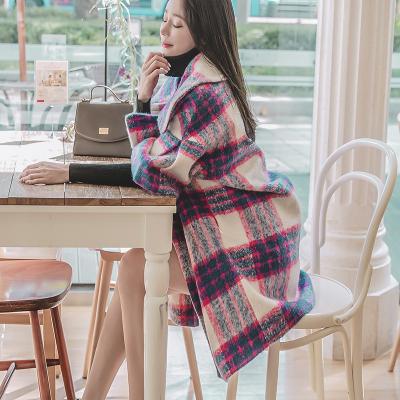 恩黛 实拍秋冬装新款韩版喇叭袖长款格子加厚上衣七分袖毛呢外套 Q047F6083