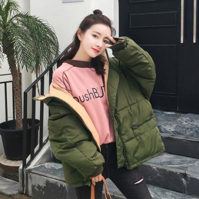 布桂坊2017冬季棉衣女学生中长款面包服韩版时尚大码羽绒棉服外套潮8861