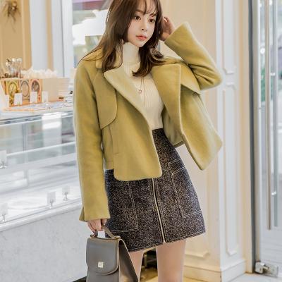 恩黛 实拍2017韩版女秋装新款修身百搭呢子显瘦时尚短款毛呢外套 Q047F6086
