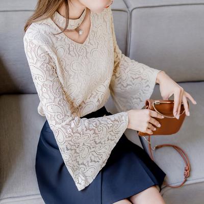 恩黛 2017实拍冬装新款韩版长袖蕾丝上衣宽松显瘦喇叭袖蕾丝衫 Q047F6117